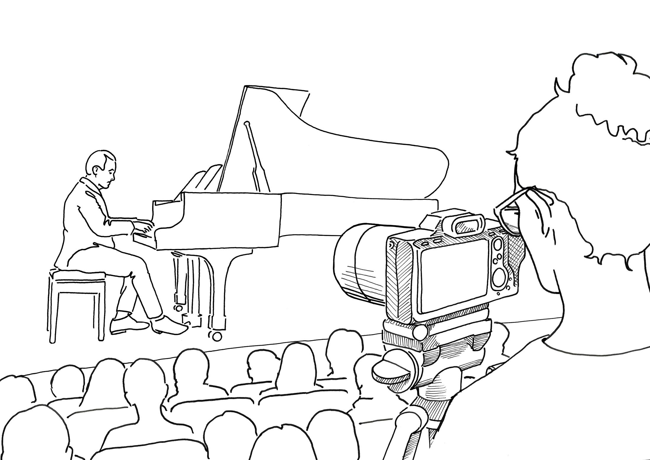 Illustration of concert setting, camera with no mic setup