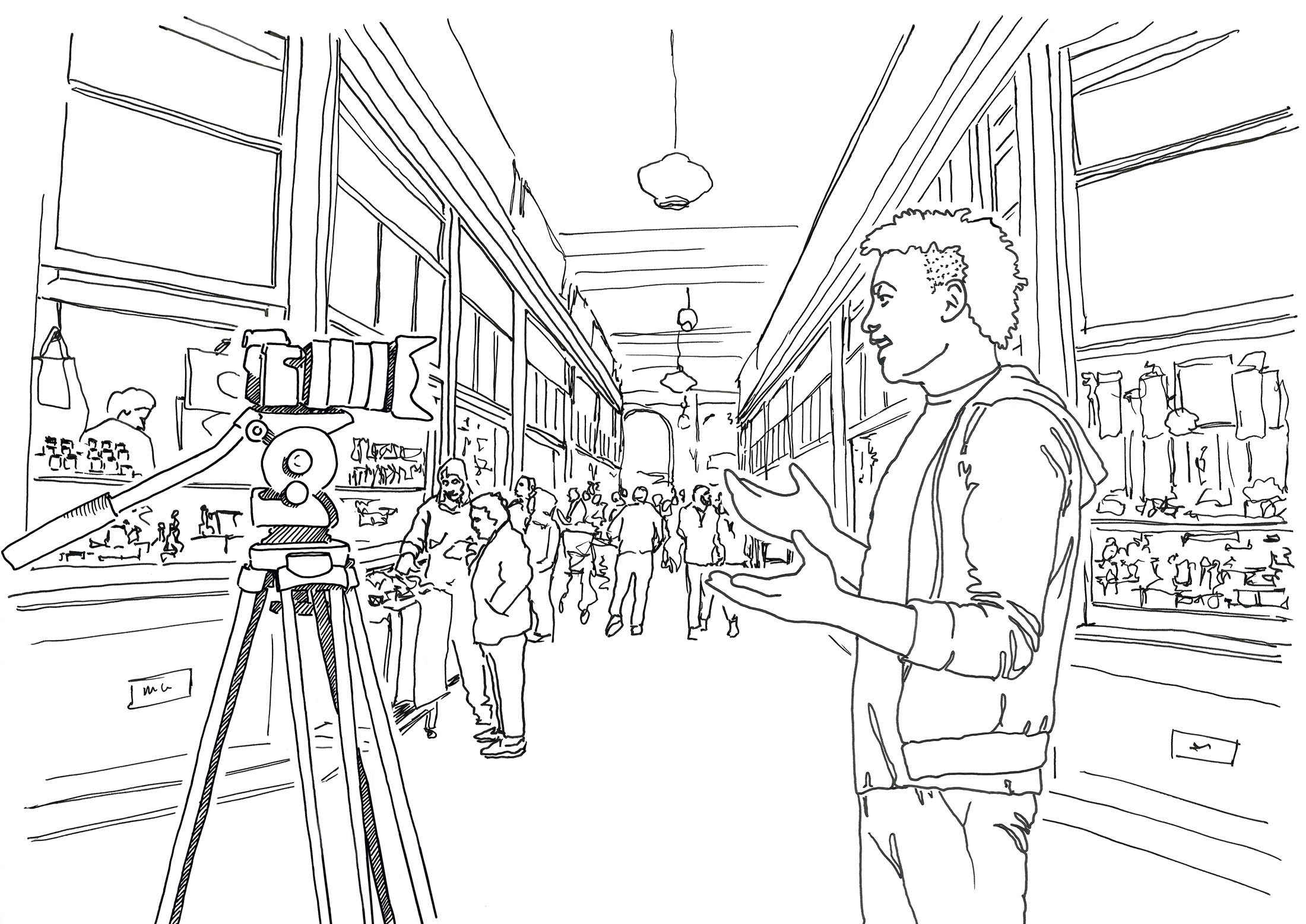 Illustration of market setting, camera with no mic setup
