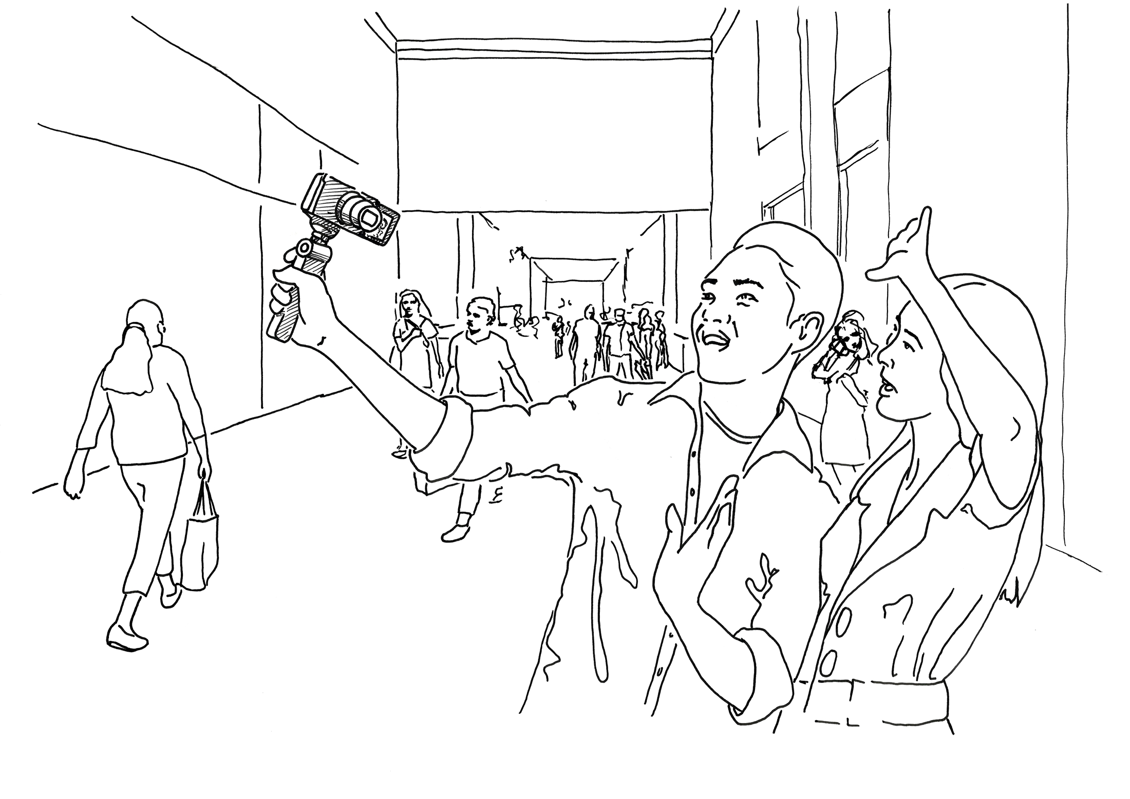 Illustration of outdoor mall setting, camera with no mic setup