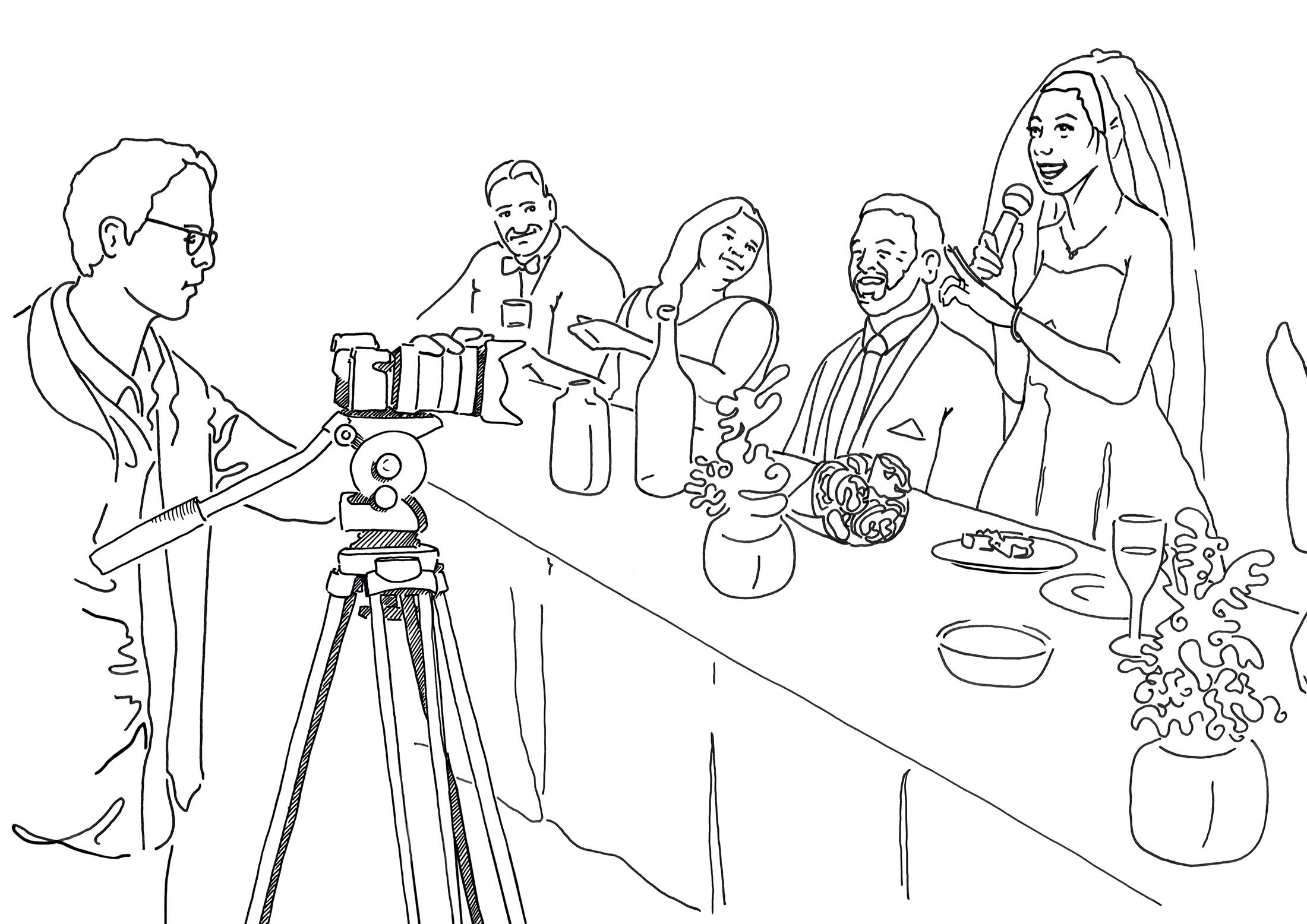 Illustration of wedding setting, camera with no mic setup